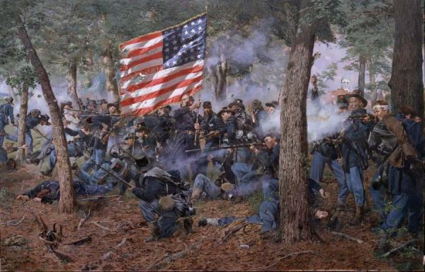 <i>The Iron Brigade,</i> by Don Troiani depicts the desperate rear guard fight of the 24th  Michigan on July 1st  near the Lutheran Seminary at Gettysburg. After Confederates shot several of his standard bearers, Colonel Henry A. Morrow raised the colors to rally his men, and was then grazed by a bullet to the head