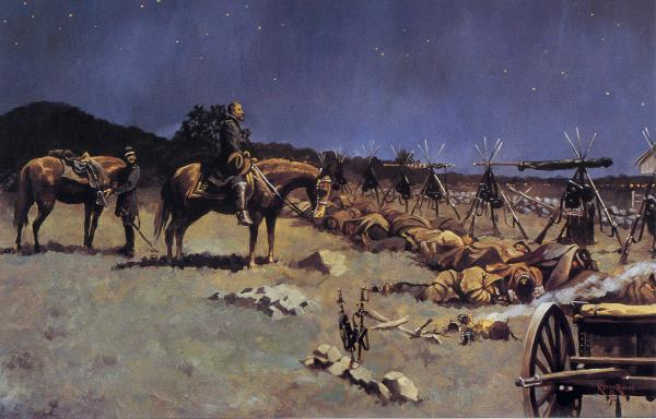 Rocco painting of Meade's 1 a.m. battlefield arrival <i>The Bivouac</i>