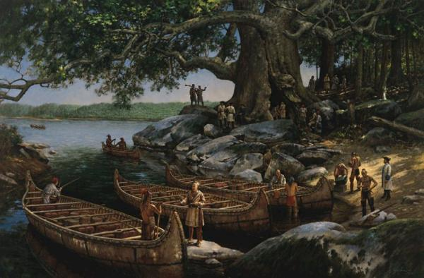 Oil on canvas painting of a hollow cottonwood tree depicting Europeans and Native Americans engaged in trade and conversation. To the left of the painting sit canoes at the waters edge.