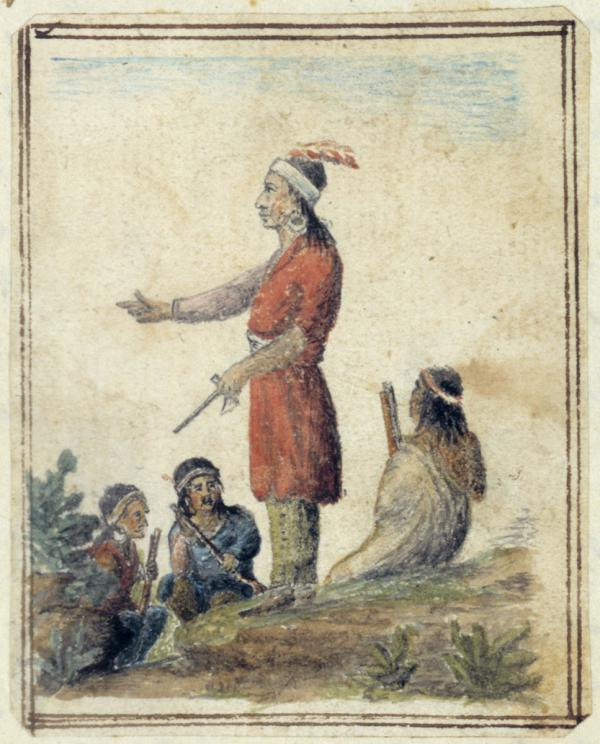 The Chief of the Lenni Lenape stands with outstretched hand while members of the tribe sit around him.