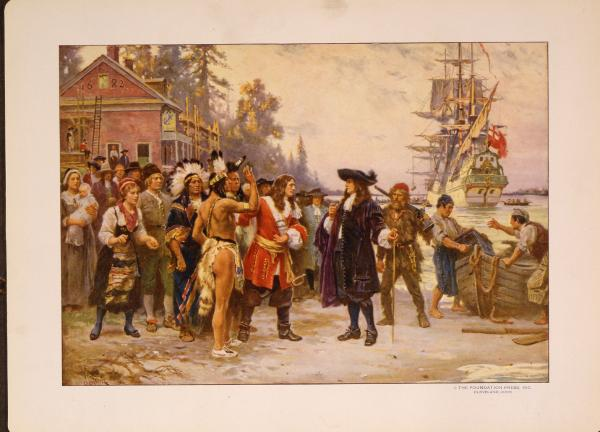 Print shows William Penn, in 1682, standing on shore greeted by large group of men and women, including Native Americans.