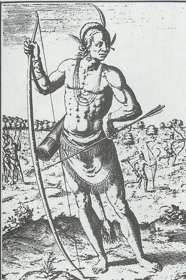 "A seventeenth-century engraving of a Susquehannock Indian, based on Captain John Smith's description.  According to Smith, the Susquehannocks were a ""gyant-like people"" who dressed in wolf and bear skins and could ""beat out the braines of a man"" with their clubs"