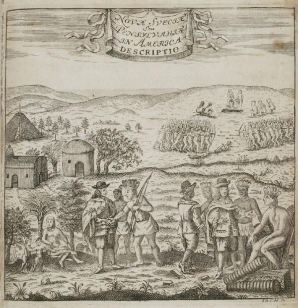 Thomas Campanius Holm, frontpiece to Swedes and Indians in New Sweden, 1702.