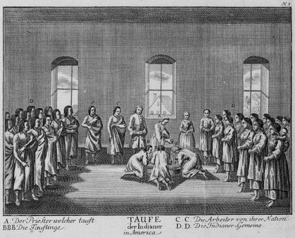 Engraving of Baptism of Indian converts.
