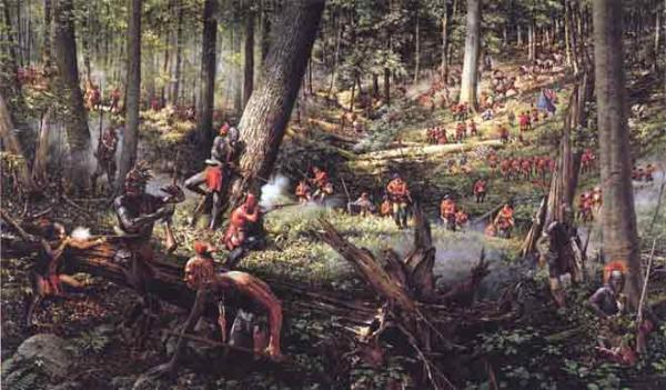 Colonel Henry Bouquet led a relief column towards Fort Pitt. The column was ambushed near Bushy Run Station, but after a two-day battle, illustrated here, Bouquet was victorious, and forced the Indians to abandon their siege of Fort Pitt.