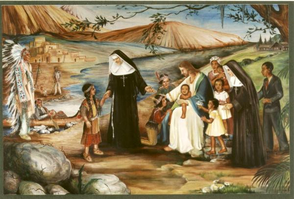 Mural of  Katharine Marie Drexel and her mission.