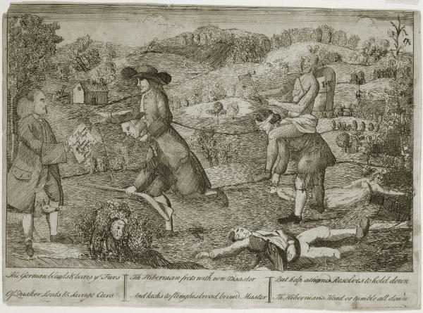 In this anonymous political cartoon from the 1760s– one of Pennsylvania's first political cartoons– an Indian and Quaker ride on the backs of German and Irish settlers as a home burns in  the background and a woman and children lay dead at their feet.