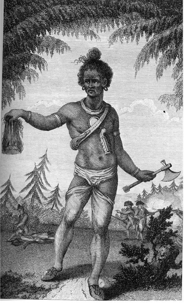 Print shows a Native warrior holding a scalp in right hand and a tomahawk in left hand.