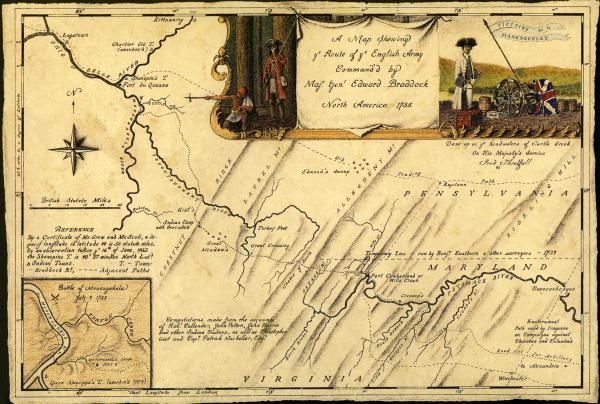 1755 Map of Braddock's Road.