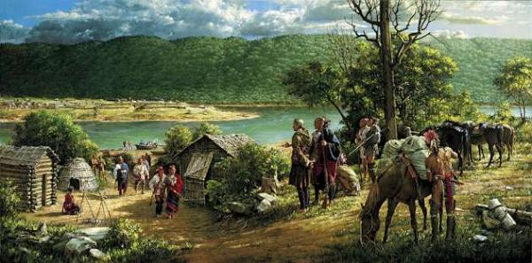 Oil on canvas of Frederick Post and Native Americans.