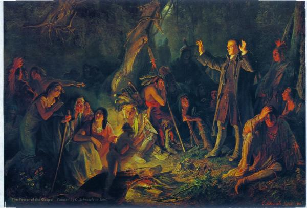 Oil on canvas of Zeisberger preaching.