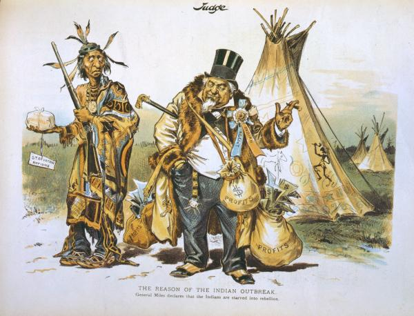 "Indian holding musket and package labeled ""starvation rations,"" standing next to an Indian agent carrying bags of money. The reason of the Indian outbreak General Miles declares that the Indians are starved into rebellion."