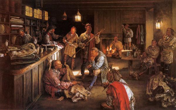 Oil on canvas of trade exchange. Natives and newcomers exchanged the products of their labor and far-flung homelands, as well as stories and ideas that changed old perceptions and practices forever.
