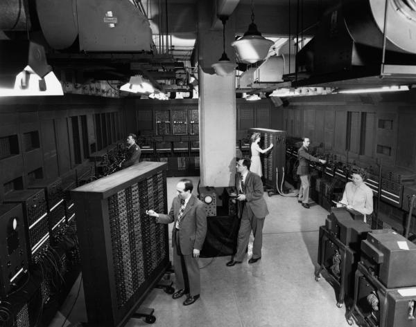 Inventors J. Presper Eckert and J.W. Mauchly work on the Electronic Numerical Integrator and Computer (ENIAC)
