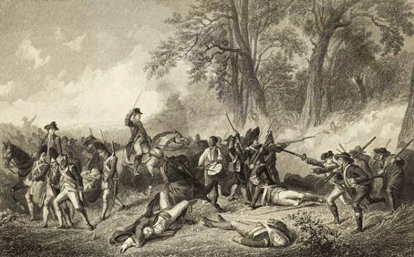Image of battle scene dipicting the fallen Braddock.