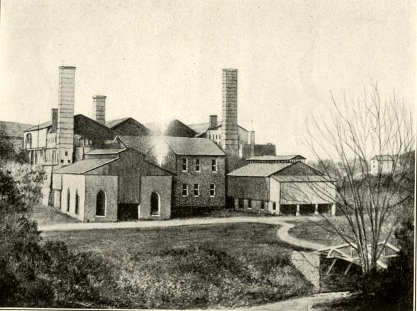 Black and white image of the buildings at Durham Furnace.
