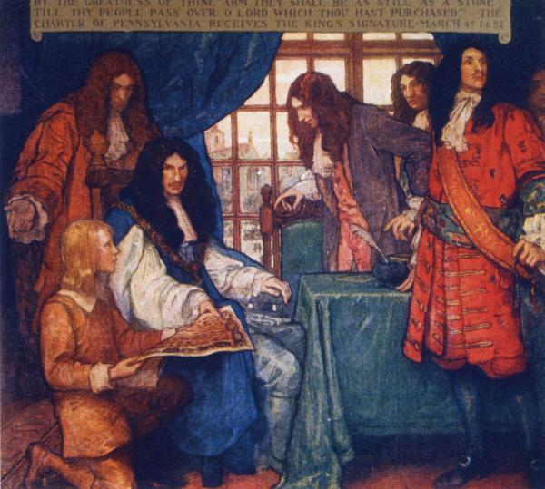 A colorful painting of King Charles II, seated at a table, being handed an ornate document by a young man who is on his knees. King Charles is surrounded by several other men in formal dress.