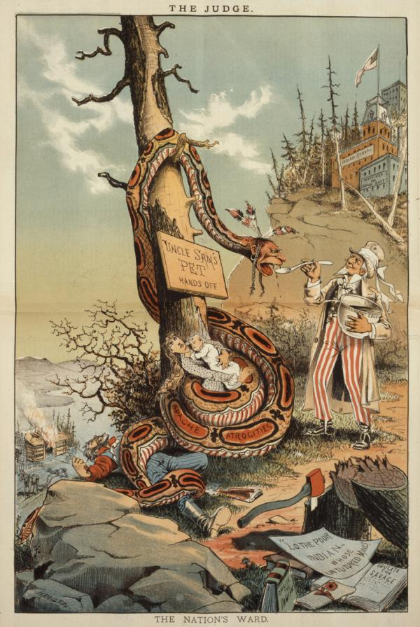 "This cartoon depicts a snake portrayed as a Native American coiled around a pioneer family, squeezing the life out of them, and around a tree; Uncle Sam is feeding the snake from a bowl of ""Government Gruel""."