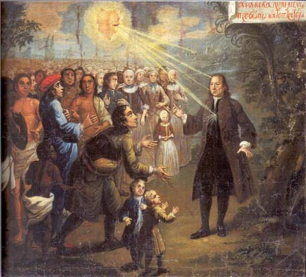 Oil on canvas painting of Zinzendorf als Lehrer der Völker, preaching to congregation.   Here Zinzendorf is receiving the light of God.