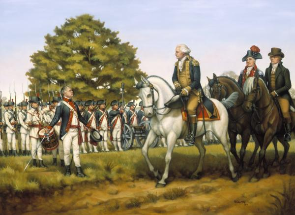 An oil on canvas painting of Washington on horseback leading his troops.