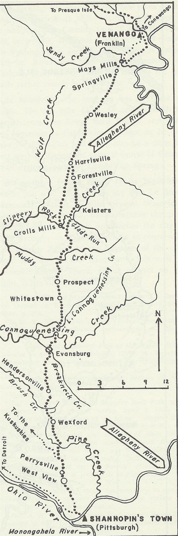 Map of Venango Path, south.