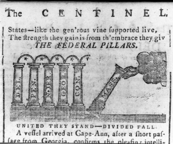 """A series of prints published over several months showing columns, each labeled after a state, being placed upright by a hand extending from a cloud. The first print, published January 16, 1788, labeled """"United they stand - divided fall"""" shows the Massachusetts column being added to those of Delaware, Pennsylvania, New Jersey, Georgia, and Connecticut. In the June 11th 1788 issue, the print, labeled """"Redeunt Saturnia Regna"""" shows the Maryland and South Carolina columns in place and the Virginia column being put into position, with the New Hampshire column reclining on the right. On August 2nd 1788 the final print appeared, the New Hampshire column has been placed ahead of the Virginia column, the New York column is in place, and the hand is placing the North Carolina column into position; to the right is a crumbling Rhode Island column next to the notation, """"The foundation good - it may yet be SAVED."""""""