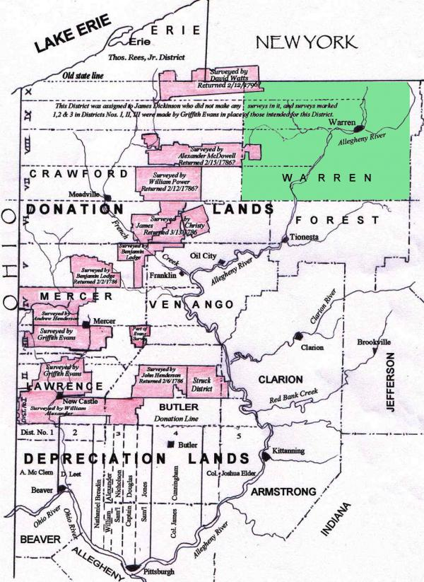 Map illustrating Donation and Depreciation Lands in Pennsylvania.