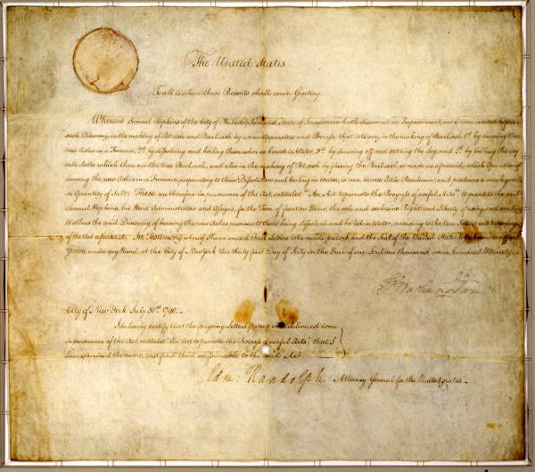 Image of the first patent granted by the United States Government.