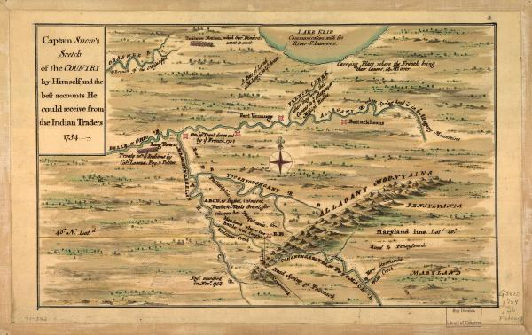 "Captain Snow's sketch of the country by himself, and the best accounts he could receive from the Indian traders, c. 1754. Shows location of forts, western Pennsylvania, northern Virginia, northern Maryland, Maryland-Pennsylvania boundary line, and ""Road to Philadelphia, Pennsylvania, and ca."""