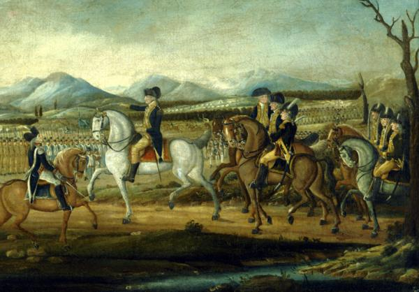 Washington in full uniform, astride a magnificent white horse, reviews his following army. The mountains and rows of infantrymen stand in the background.