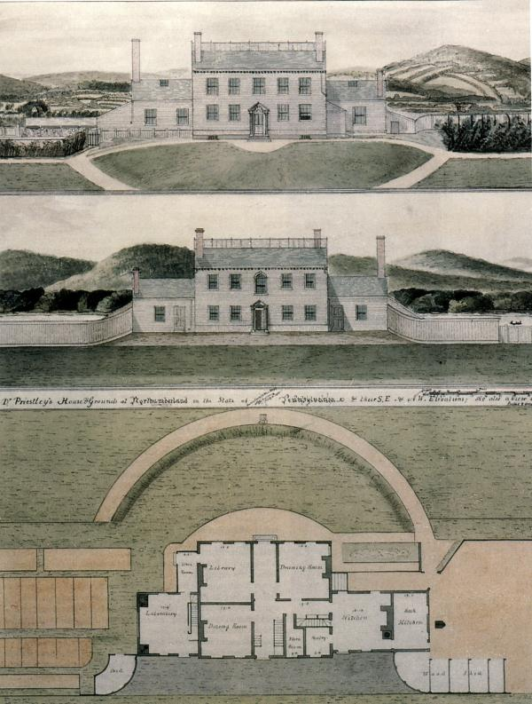 A drawing made by T. Lambourne of Luzerne County of the Priestley Home grounds.