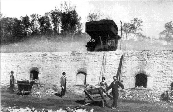 Image of workers and coke ovens.