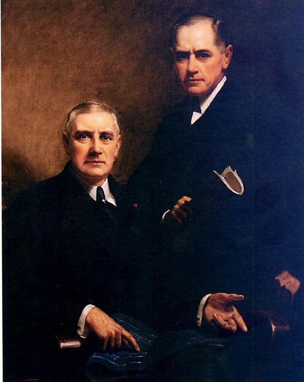 Oil on canvas of Charles M. Schwab [seated] and E.C. Grace. [standing]