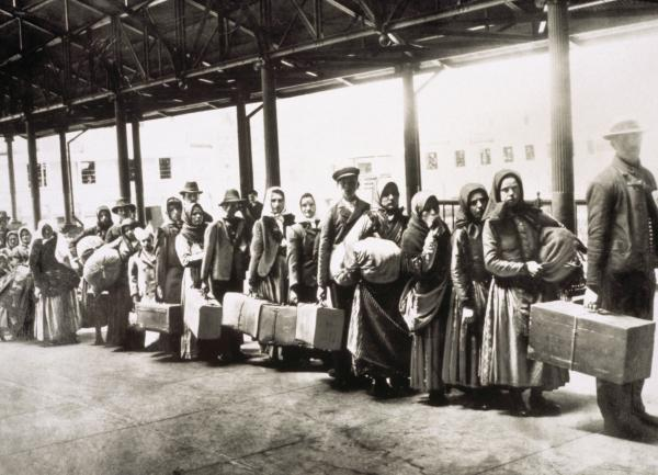 European immigrants who have passed through the entry station at Ellis Island.