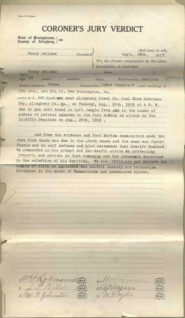 Fannie Sellins Verdict, Filed September 26, 1919