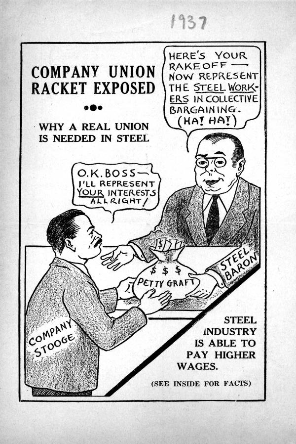 Leaflet recruiting Pittsburgh steelworkers to join the Amalgamated Association of Iron, Steel and Tin Workers of North America and describing the injustices of current wages and working conditions.