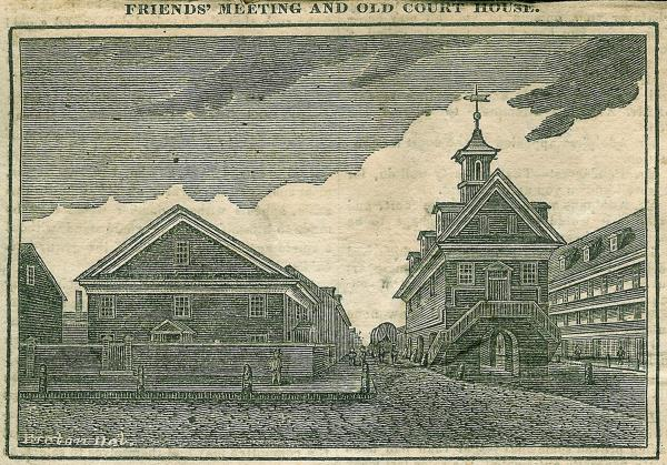 Illustration from 1832 of the original Friends Meeting House and old Courthouse in Philadelphia
