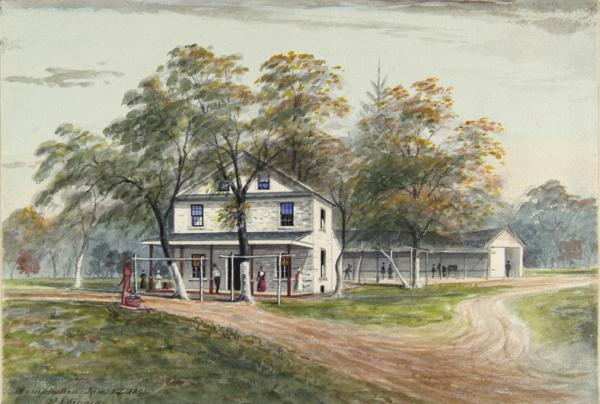 Watercolor of the Old Rising Sun Tavern.