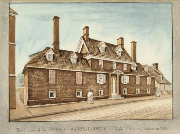 Watercolor of the front view of the Alms House.