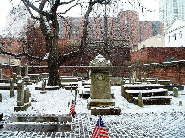 Snow covered, winter scene of the Mikveh Israel Cemetery at 831 Spruce Street.