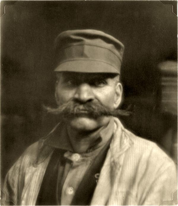 Portrait of a mustached western Pennsylvania industrial worker.
