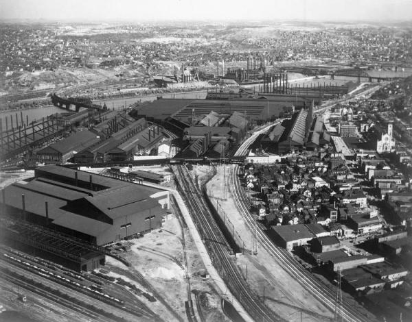 Overhead view of the Homestead Steel Works.