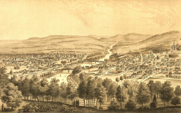 Bird's-eye view of Bethlehem and South Bethlehem, Pennsylvania, looking northeast along the Lehigh River.