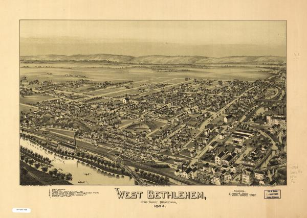 Birds eye view of the town of Bethlehem.
