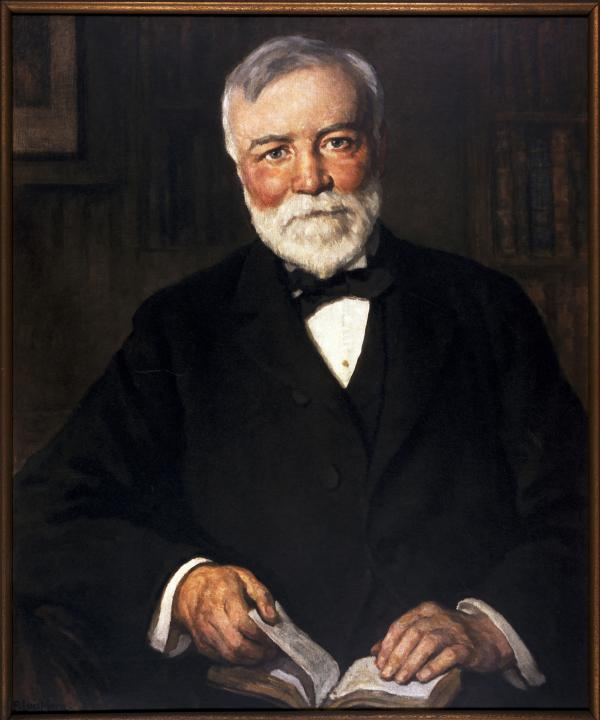 Oil on canvas of Andrew Carnegie.