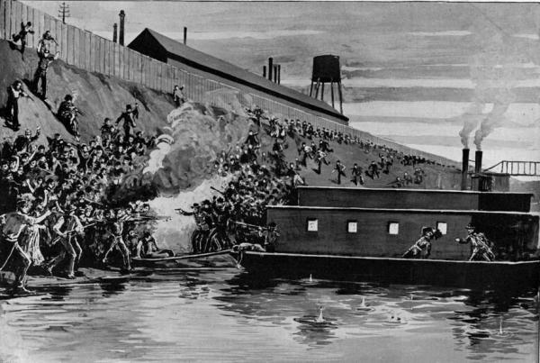 """Battle scene with men standing along a hillside, firing at Pinkertons that are disembarking from a barge. """"Fort Frick"""" with the wooden fence surrounding it sits at the top of the hill."""