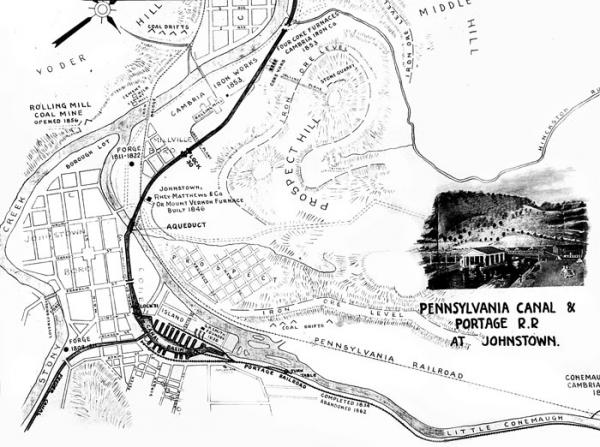 Map showing the locations of the Pennsylvania Canal and Portage Railroad at Johnstown, c. 1850.