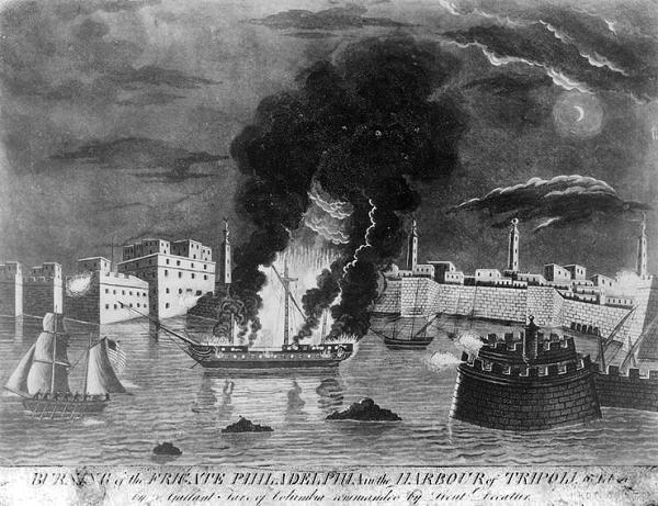 """""""Burning of the Frigate Philadelphia in the Harbour of Tripoli, 16th Feb. 1804…,""""Aquatint engraving by F. Kearney, 1808."""