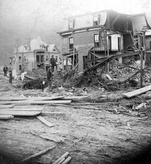 Wreckage from the 1889 Flood. The building in the background is the Cambria Iron offices