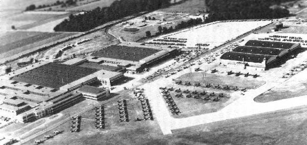 Aerial view of the Brewster aircraft factory